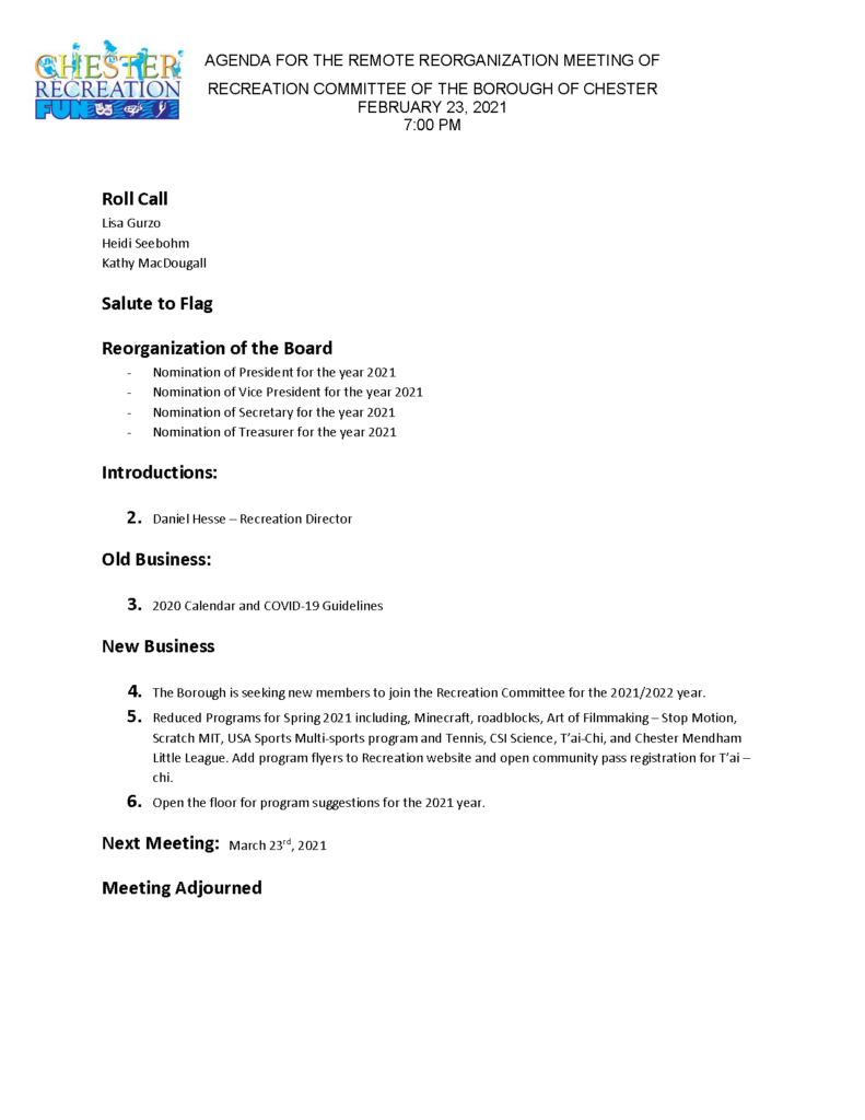 21 02 23 Reorganization Agenda 2
